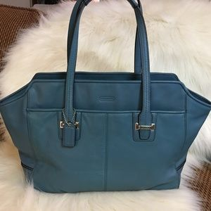 COACH  Blue Leather Large TAYLOR ALEXIS Tote 25205